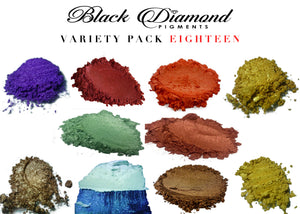 VARIETY PACK 18 (10 COLORS) mica powder pigment variety packs  Black Diamond Pigments® - Black Diamond Pigments