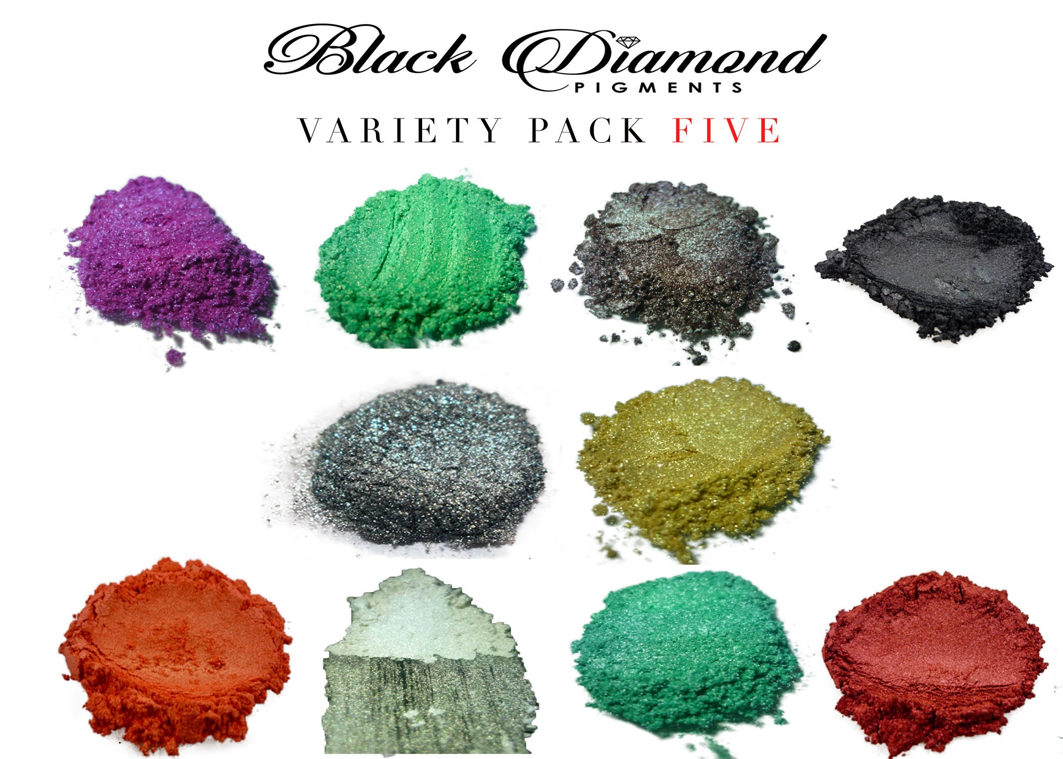 VARIETY PACK 5 (10 COLORS) Mica Powder pigment variety pack Black Diamond Pigments® - Black Diamond Pigments