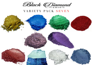 VARIETY PACK 7 (10 COLORS) mica powder pigment packs Black Diamond Pigments® - Black Diamond Pigments