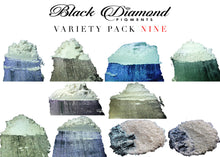 "Load image into Gallery viewer, ""MICA PIGMENT BOX 1"" (7 VARIETY PACKS) 70-5g packs TOTAL including GHOST pigments (Epoxy,Slime,Resin,Soap) Black Diamond Pigments® - Black Diamond Pigments"