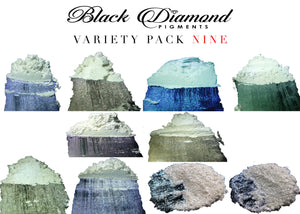 """MICA PIGMENT BOX 1"" (7 VARIETY PACKS) 70-5g packs TOTAL including GHOST pigments (Epoxy,Slime,Resin,Soap) Black Diamond Pigments® - Black Diamond Pigments"