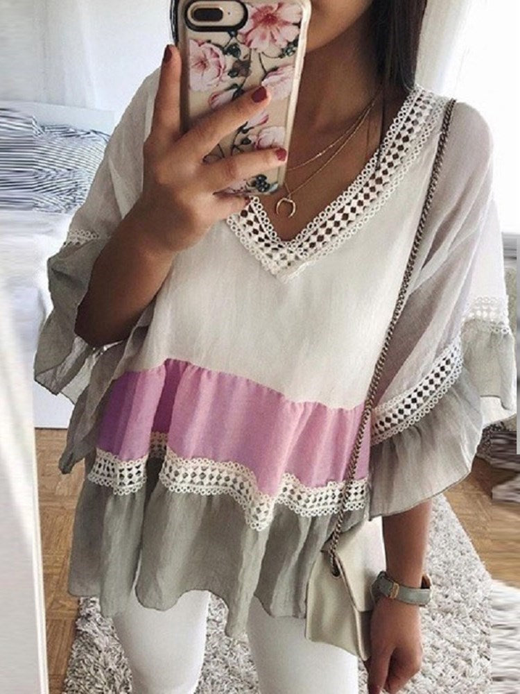 V-Neck Stripe Lace Three-Quarter Sleeve Standard Blouse