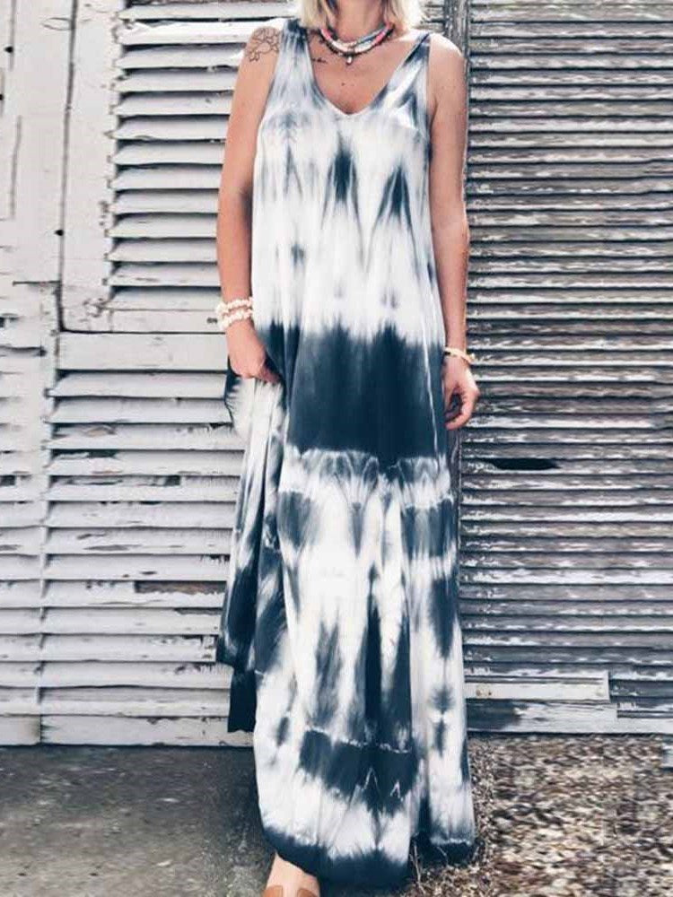 Sleeveless V-Neck Floor-Length A-Line Travel Look Dress