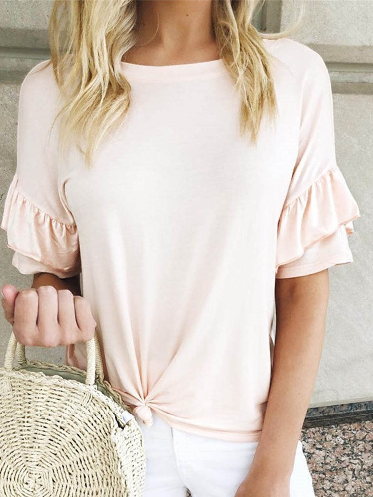 Short Sleeve Standard Round Neck Casual Summer T-Shirt