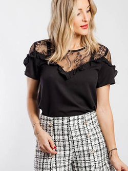 Round Neck Plain Lace Standard Short Sleeve Blouse