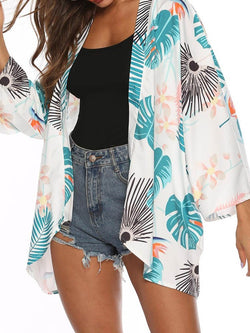 Plant Print Nine Points Sleeve Mid-Length Blouse
