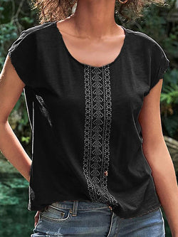 Round Neck Patchwork Short Sleeve Standard Blouse