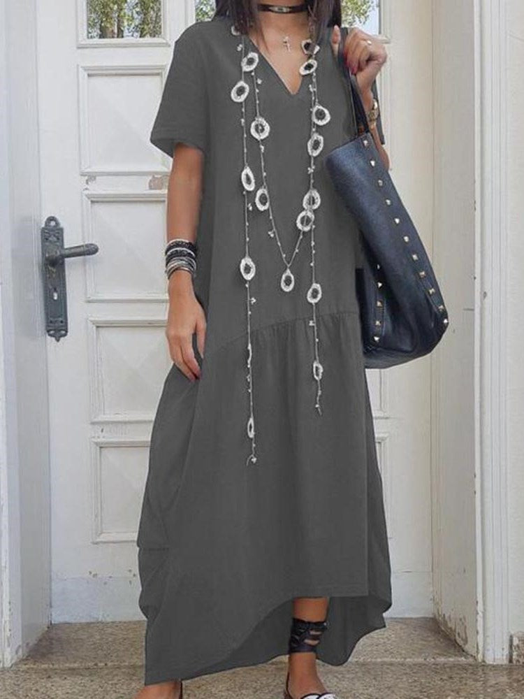 Ankle-Length V-Neck Asymmetric Pullover A-Line Dress