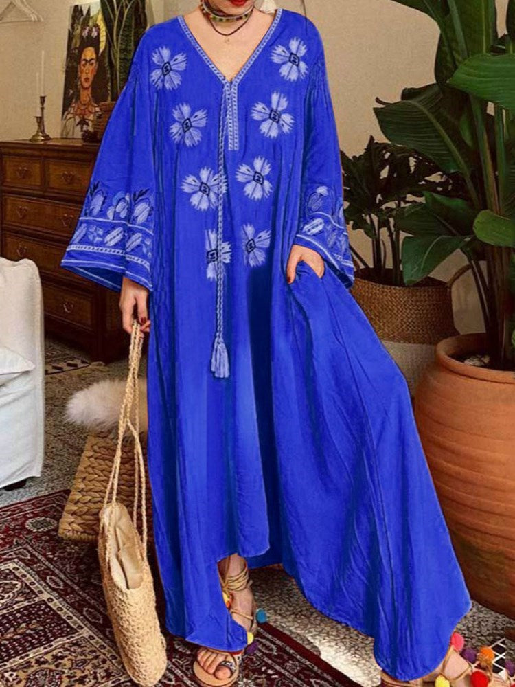 V-Neck Floor-Length Long Sleeve Casual Floral Dress