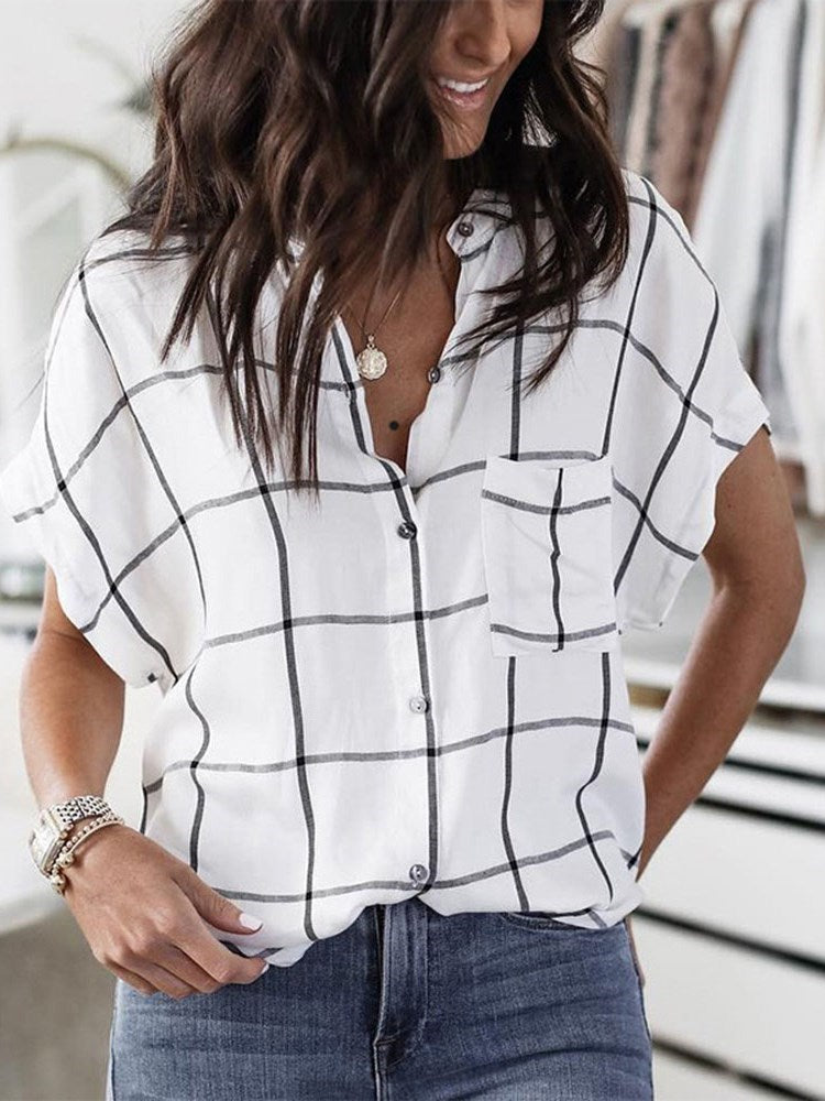Button Plaid Standard Short Sleeve Blouse