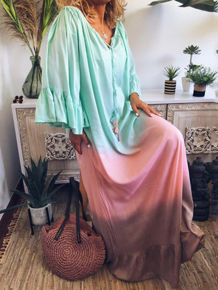 Three-Quarter Sleeve Floor-Length Patchwork Flare Sleeve Straight Dress