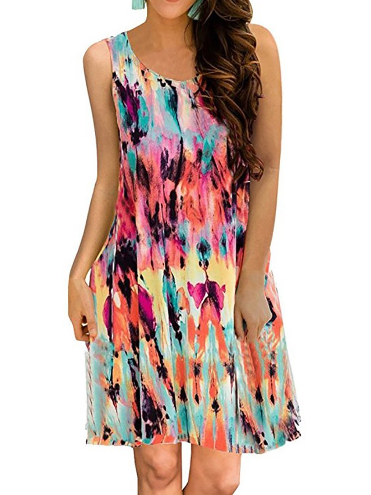 Sleeveless Round Neck Print Casual A-Line Dress
