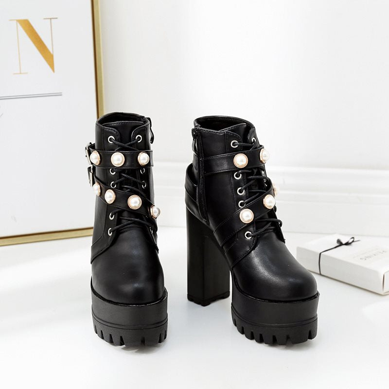 Chunky Heel Plain Round Toe Side Zipper Casual Cross Strap Boots