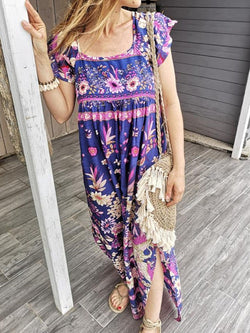 Ankle-Length Cap Sleeve Print Pullover Summer Dress