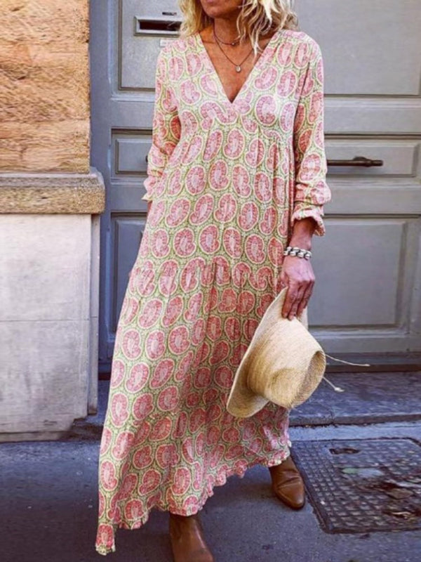 V-Neck Mid-Calf Long Sleeve Summer Casual Dress