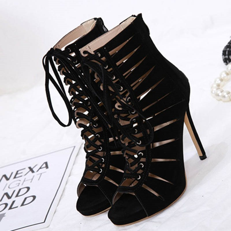 Stiletto Heel Peep Toe Hollow Zipper 12cm Casual Thin Shoes