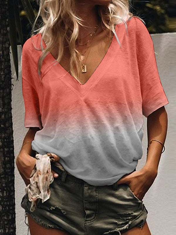 Half Sleeve V-Neck Gradient Casual Loose T-Shirt
