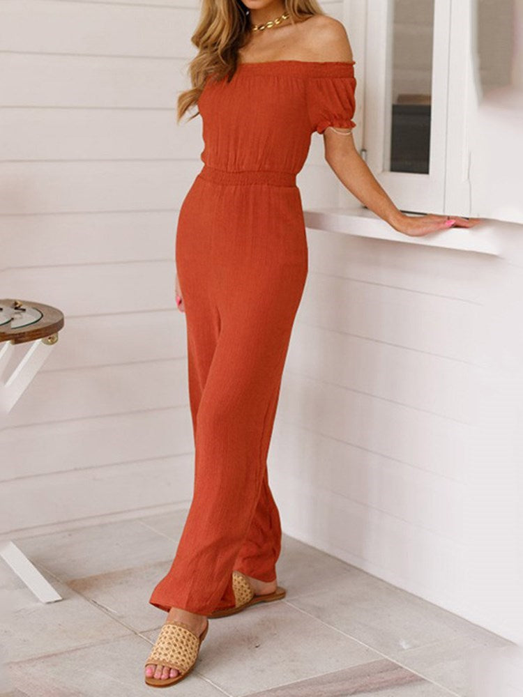 Western Plain Full Length Loose High Waist Jumpsuit