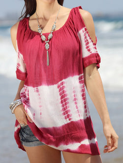 Round Neck Color Block Short Sleeve Casual Loose T-Shirt