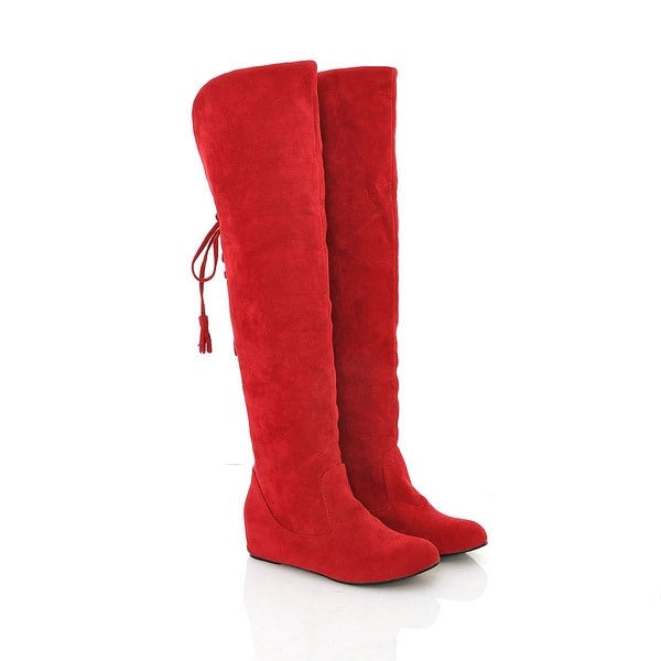 Plain Hidden Elevator Heel Lace-Up Back Round Toe Sweet Banquet Boots