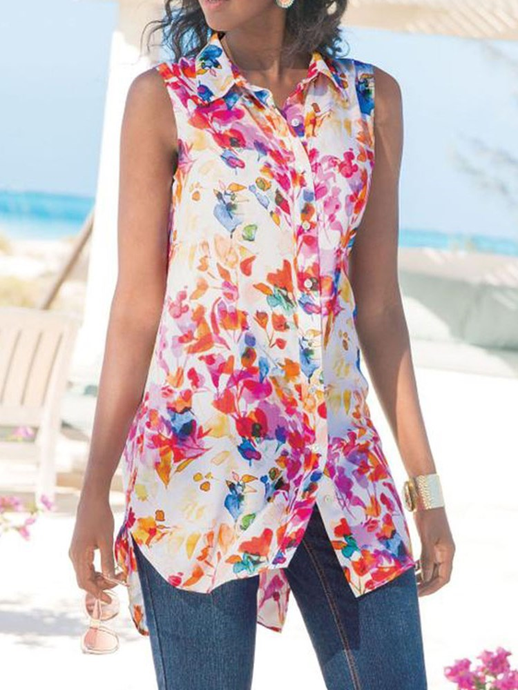 Floral Lapel Button Mid-Length Sleeveless Blouse