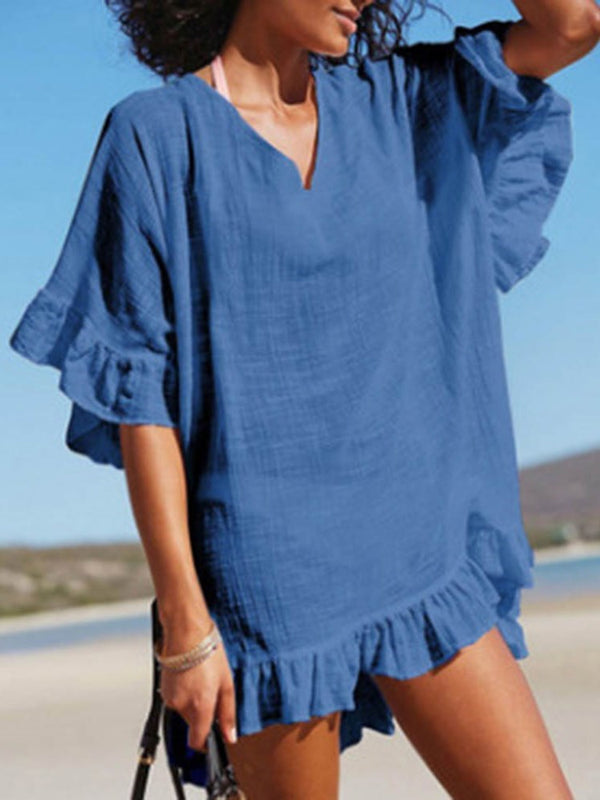 Above Knee V-Neck Pleated Pullover Beach Dress