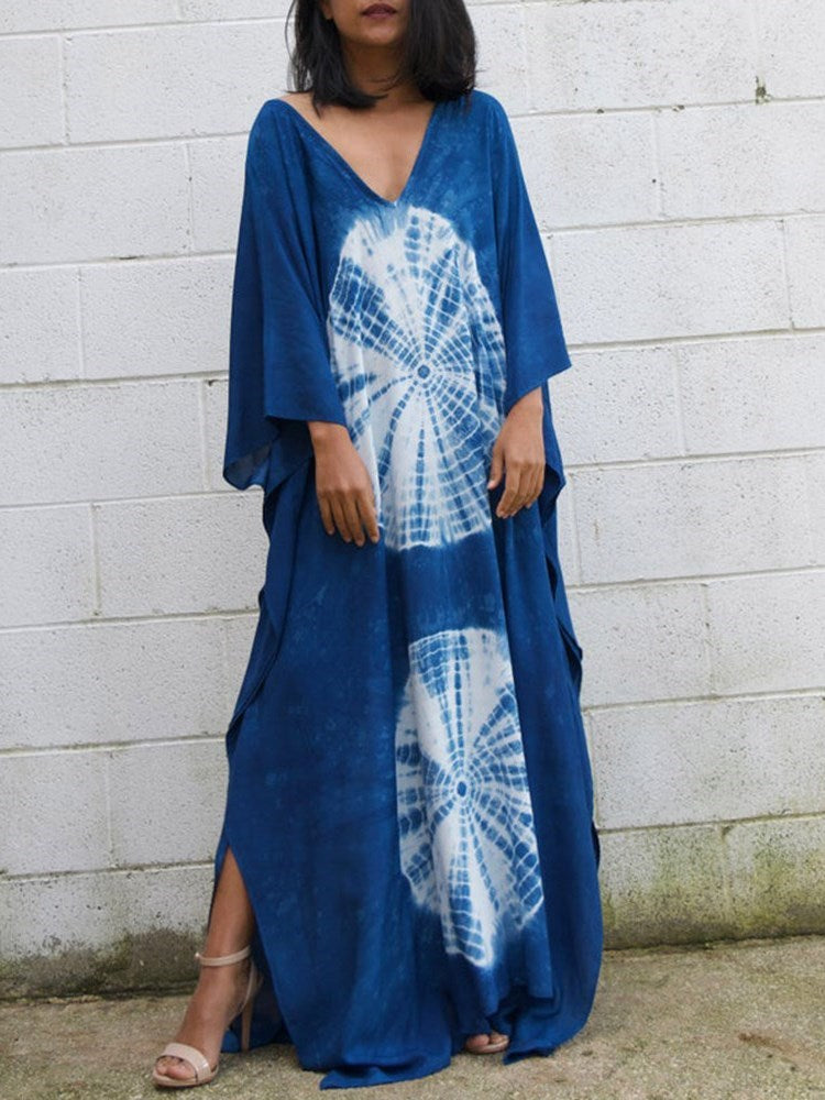 Split V-Neck Three-Quarter Sleeve Geometric Straight Dress