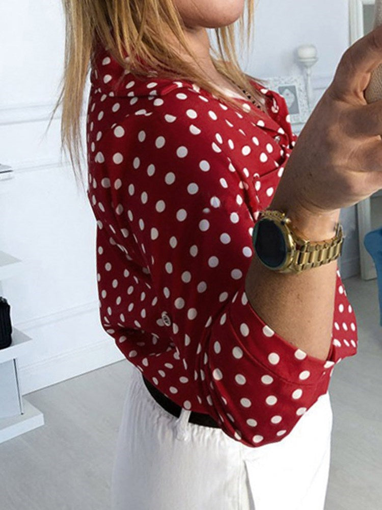 Lapel Print Polka Dots Three-Quarter Sleeve Mid-Length Blouse