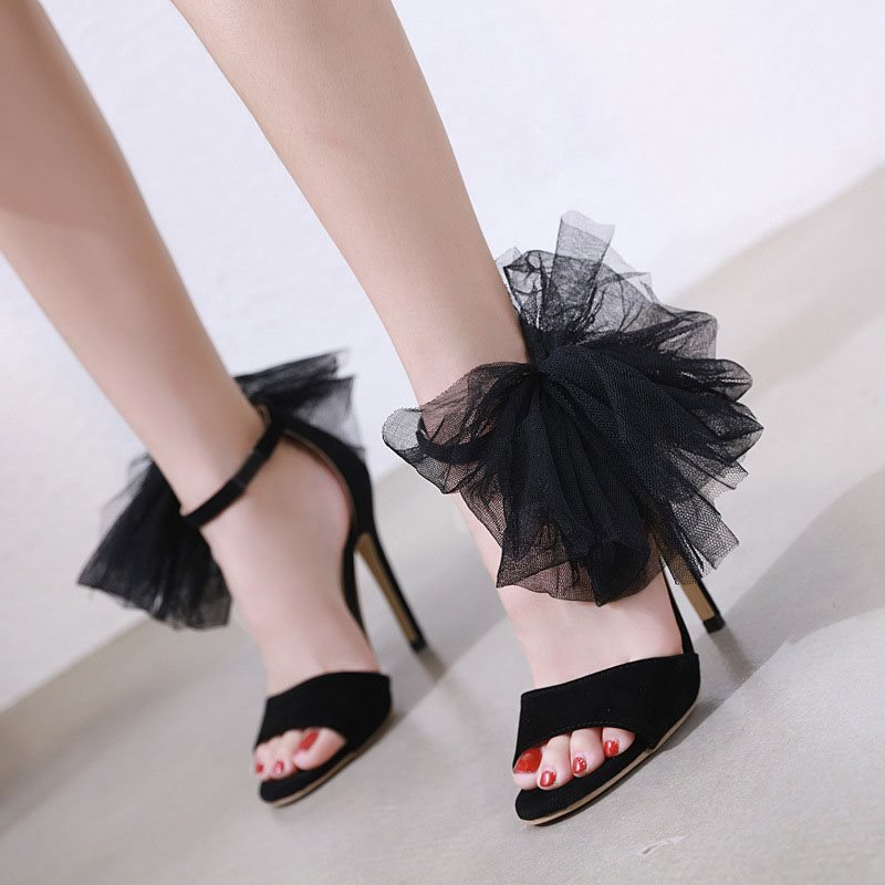 Heel Covering Open Toe Stiletto Heel Line-Style Buckle Low-Cut Upper Plain Sandals