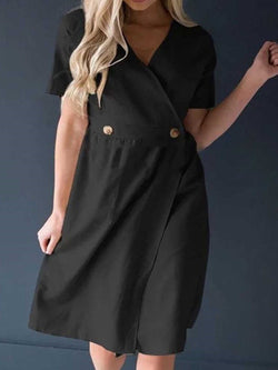 Button Short Sleeve V-Neck Plain Regular Dress