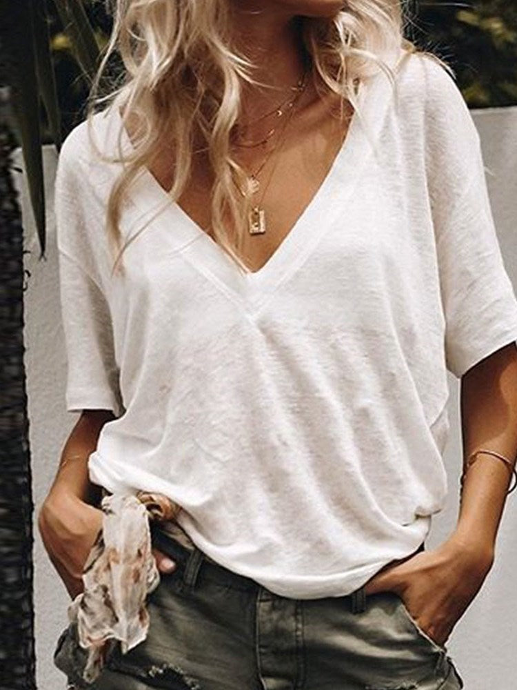 Plain Standard Short Sleeve Slim Casual T-Shirt