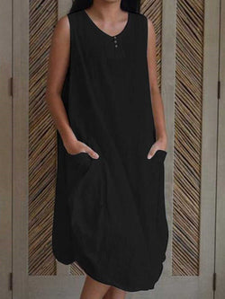 Button Mid-Calf Sleeveless Casual Asymmetrical Dress