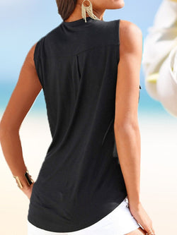 Plain V-Neck Pocket Sleeveless Mid-Length Blouse