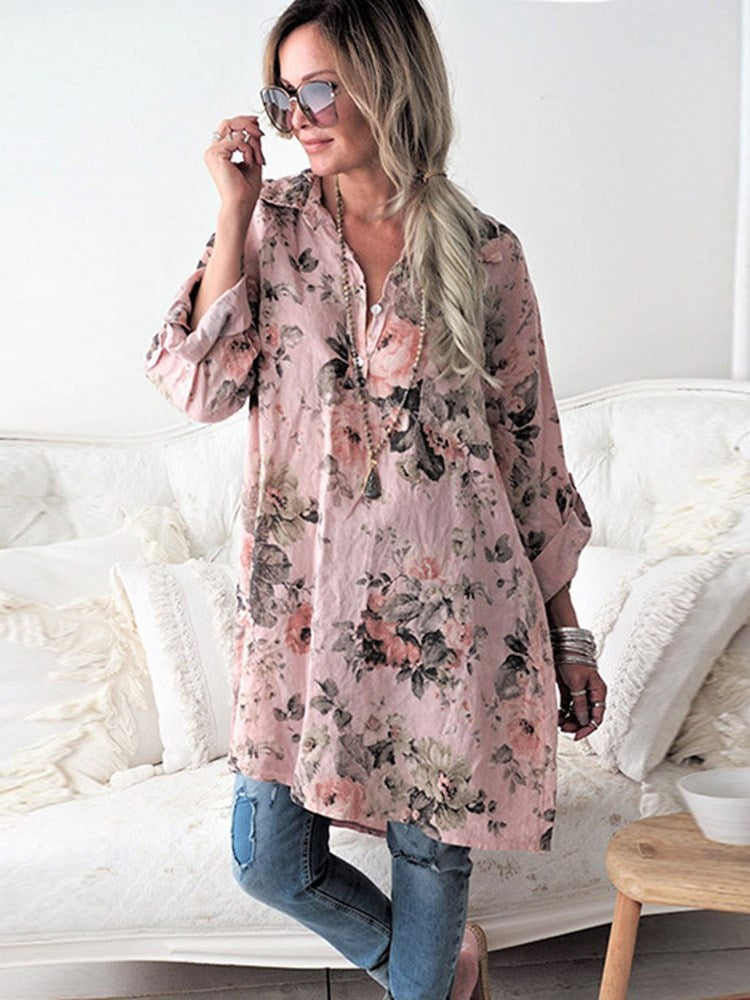 Print Floral Lapel Long Sleeve Mid-Length Blouse