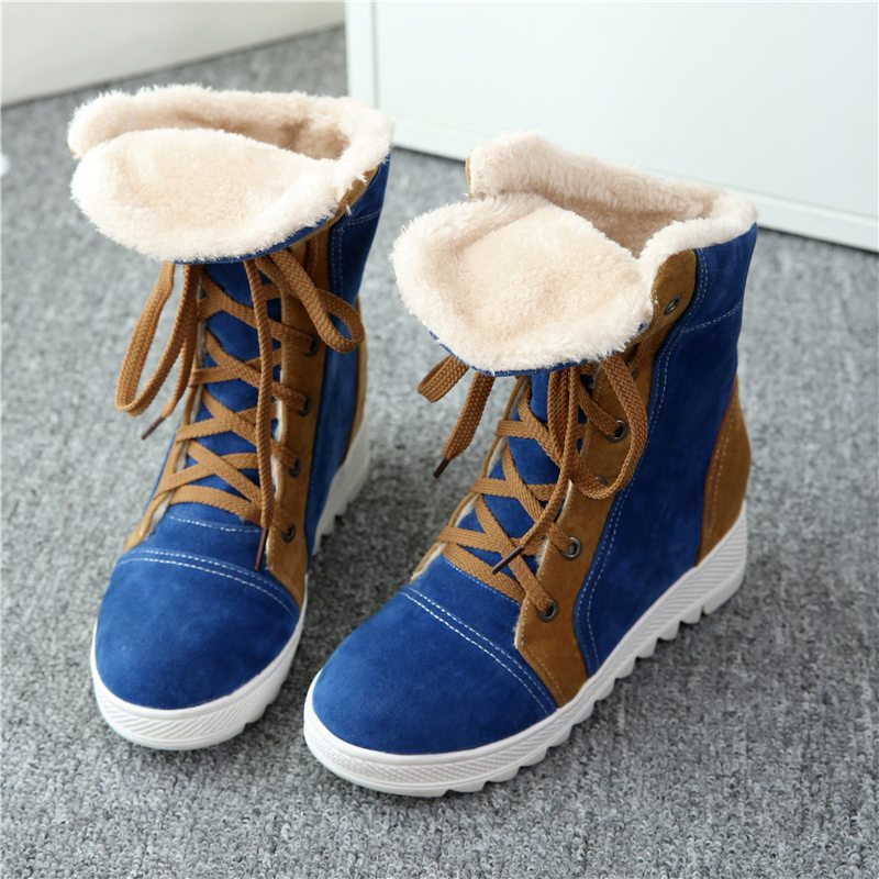 Round Toe Lace-Up Front Color Block Hidden Elevator Heel Western Short Floss Boots