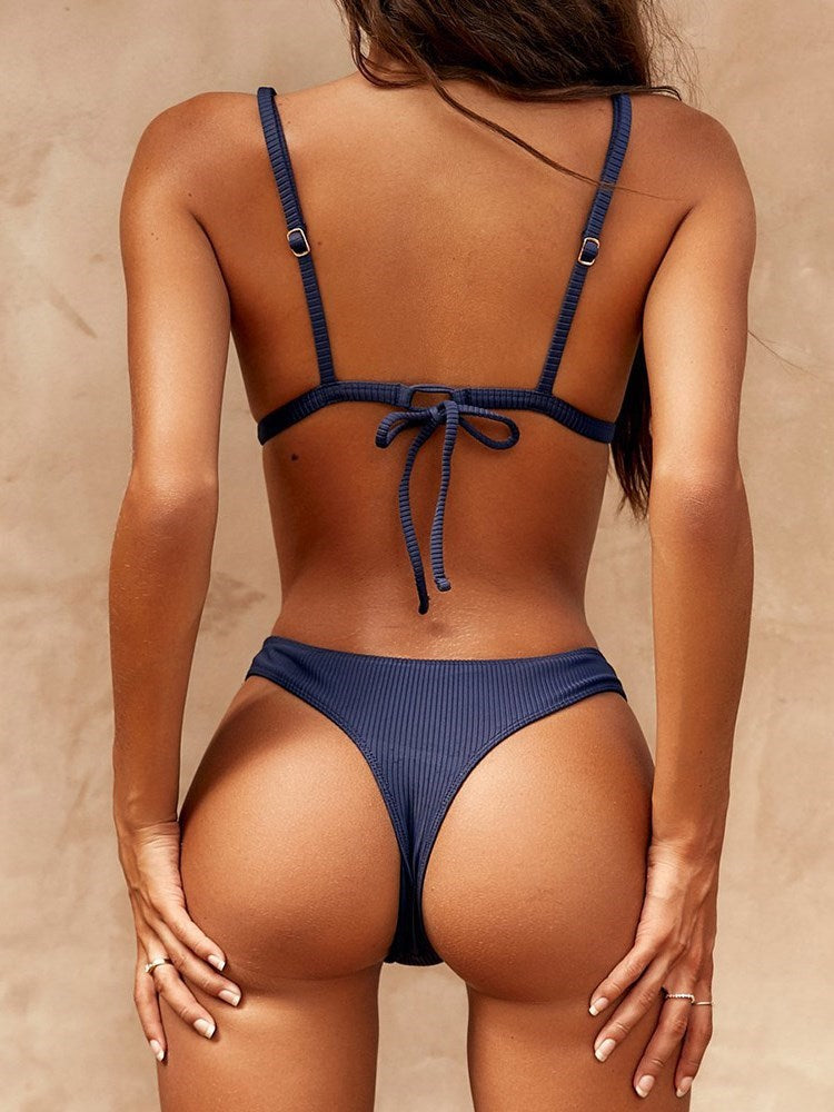 Western Lace-Up Plain Swimwear