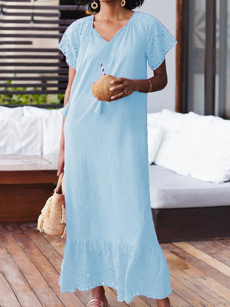 Hollow V-Neck Short Sleeve Pullover Summer Dress