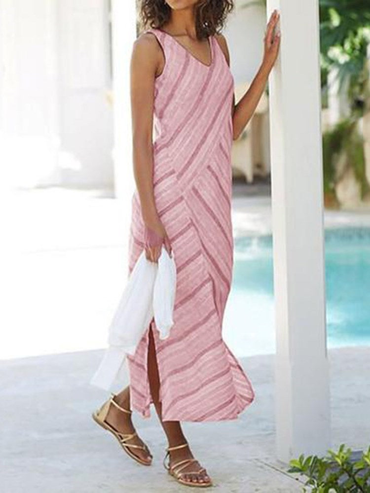 Sleeveless Split V-Neck Travel Look Stripe Dress