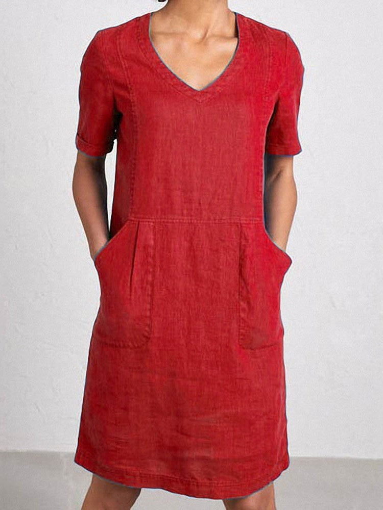 Short Sleeve Knee-Length Pocket Straight Pullover Dress