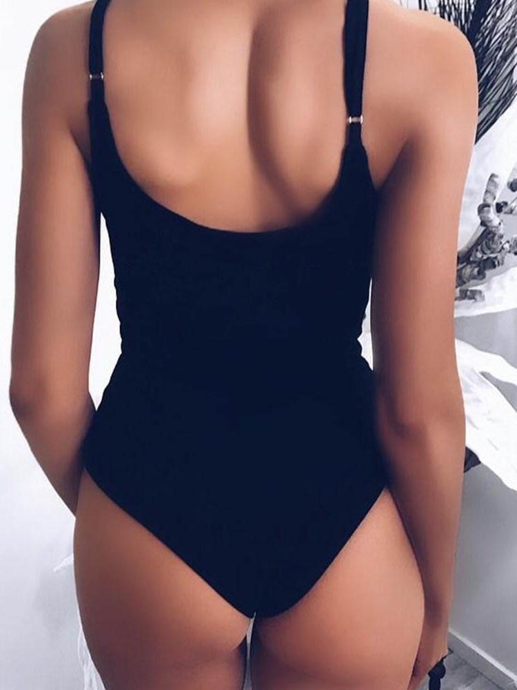 Lace-Up One Piece Plain Swimwear