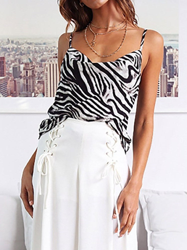 Spaghetti Straps Polyester Summer Standard Tank Top