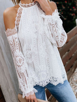 Stand Collar Lace Plain Long Sleeve Mid-Length Blouse