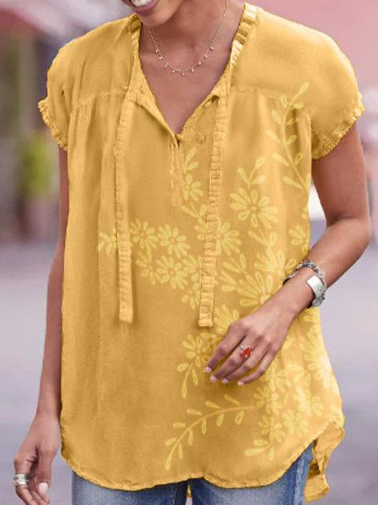 Print Floral Mid-Length Short Sleeve Blouse