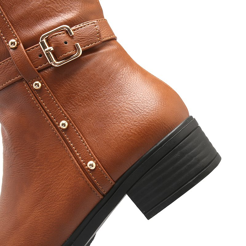 Round Toe Plain Block Heel Side Zipper Casual Western Boots