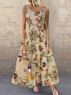 Ankle-Length Round Neck Sleeveless Summer Expansion Dress