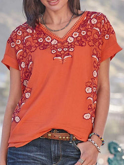 V-Neck Floral Embroidery Short Sleeve Standard Blouse