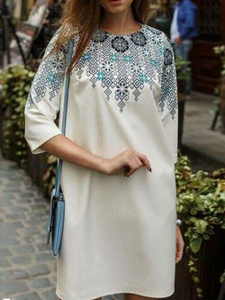 Three-Quarter Sleeve Above Knee Round Neck Casual Pullover Dress