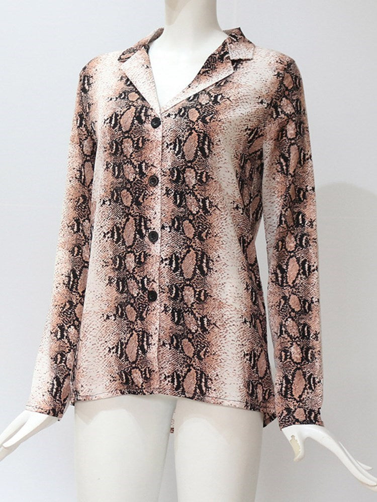 Print Serpentine Regular Long Sleeve Mid-Length Blouse
