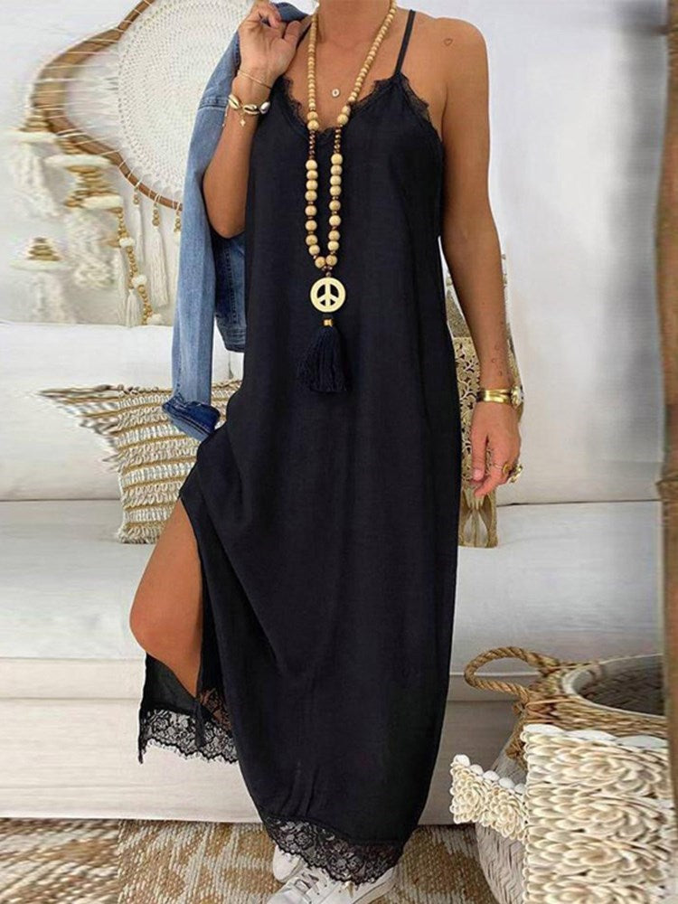 Lace Sleeveless Ankle-Length Summer Spaghetti Strap Dress