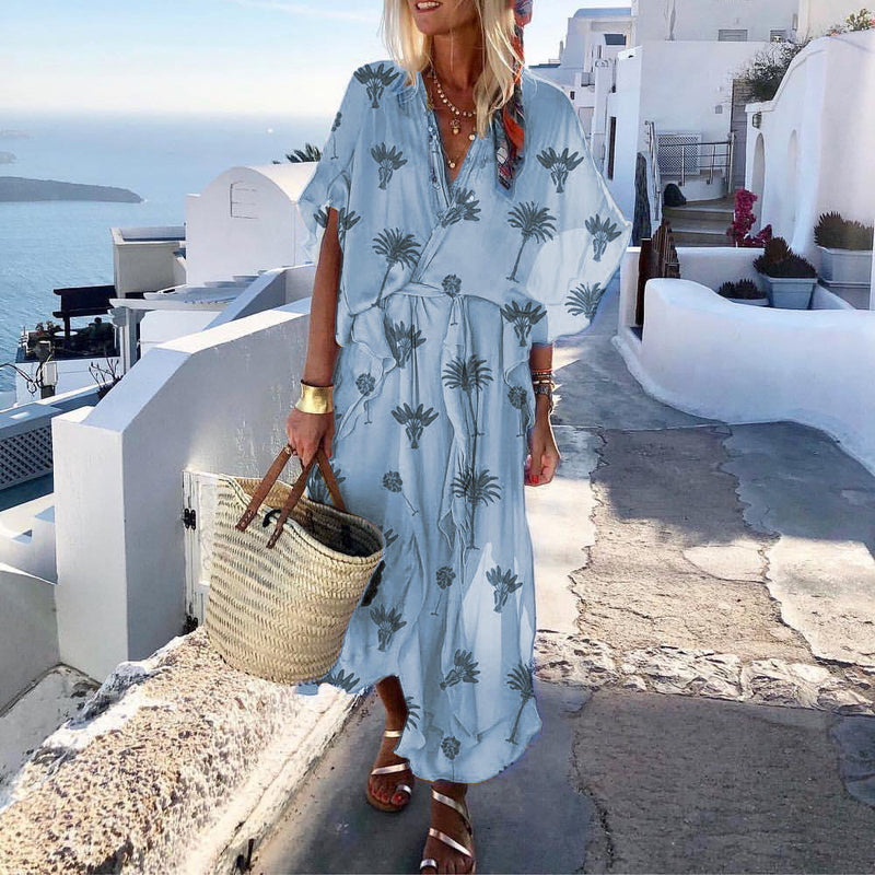 Print Three-Quarter Sleeve V-Neck Summer Batwing Sleeve Dress